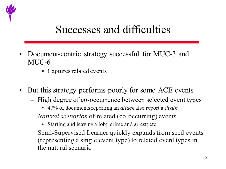 9 Successes and difficulties Document-centric strategy successful for MUC-3 and MUC-6 Captures related events But this strategy performs poorly for so