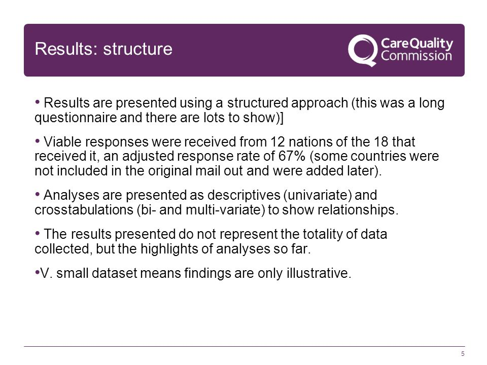 5 Results: structure Results are presented using a structured approach (this was a long questionnaire and there are lots to show)] Viable responses we