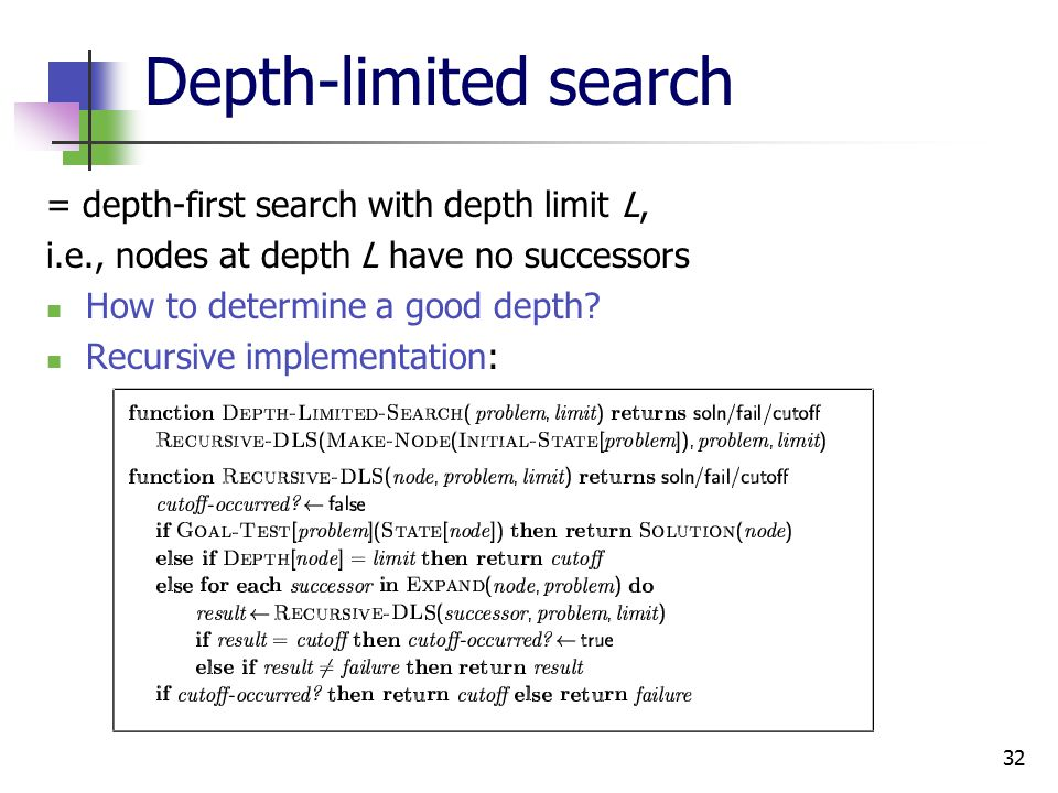 32 Depth-limited search = depth-first search with depth limit L, i.e., nodes at depth L have no successors How to determine a good depth.
