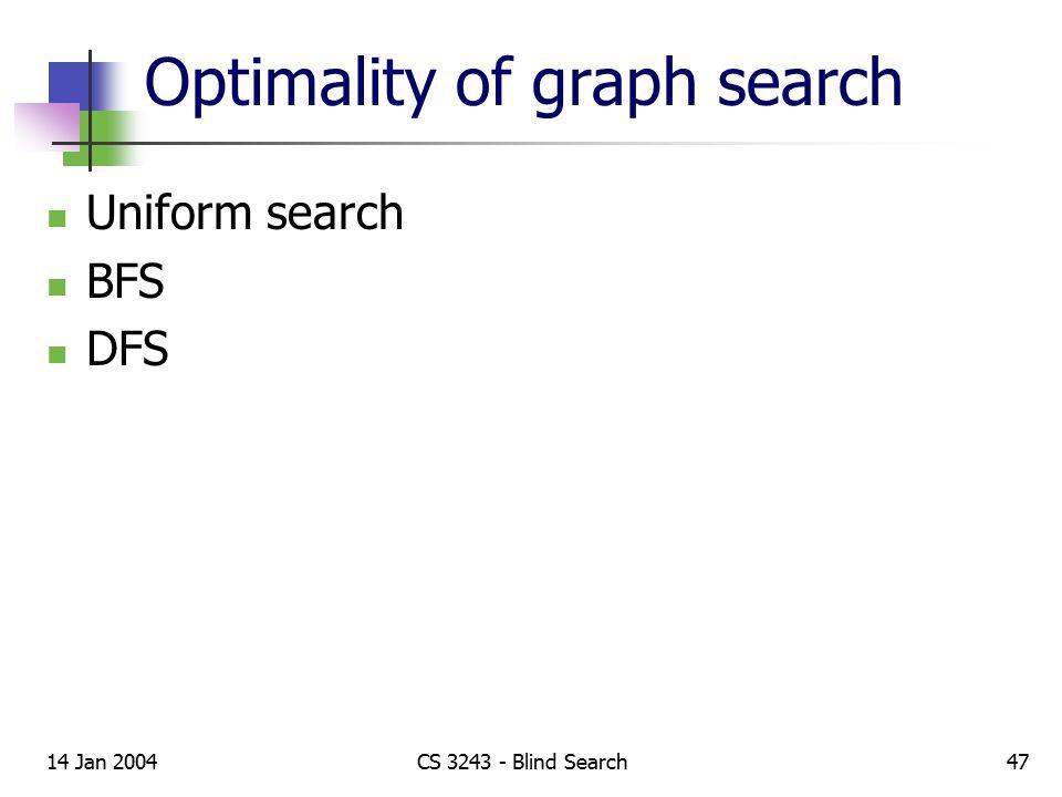 Optimality of graph search Uniform search BFS DFS 14 Jan 2004CS 3243 - Blind Search47