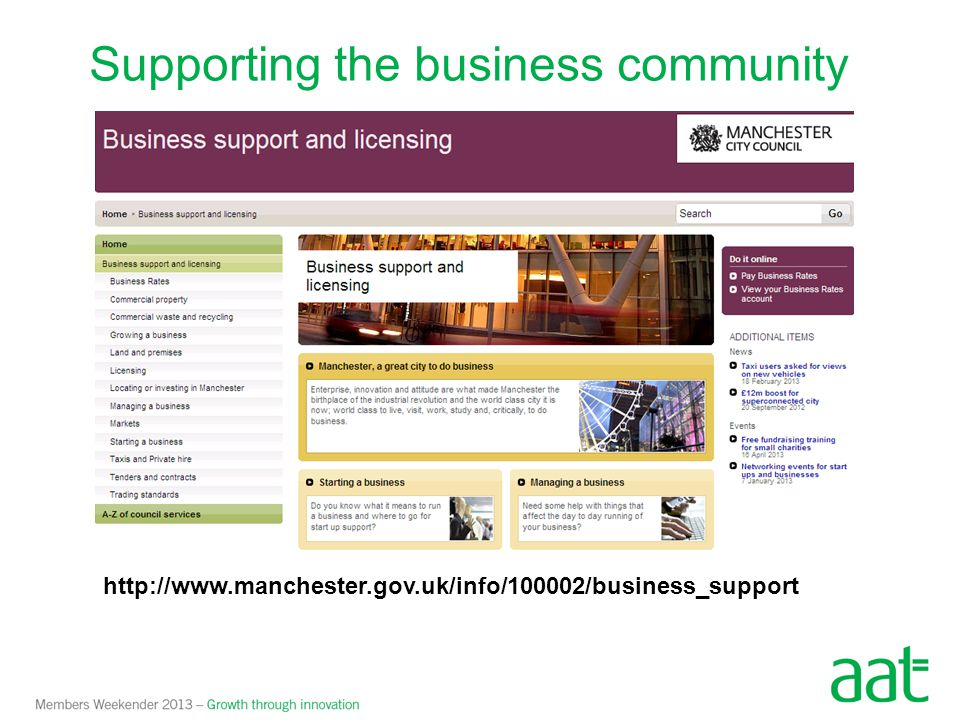 Supporting the business community http://www.manchester.gov.uk/info/100002/business_support