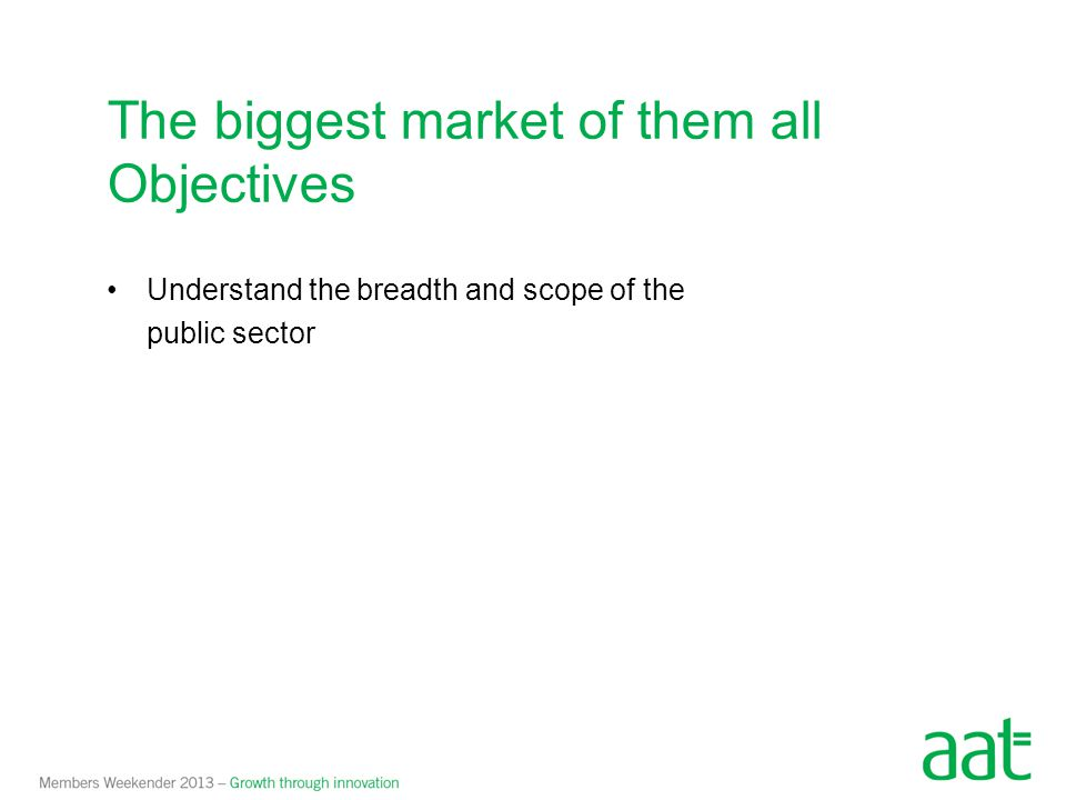 Breadth and scope of the public sector Westminster
