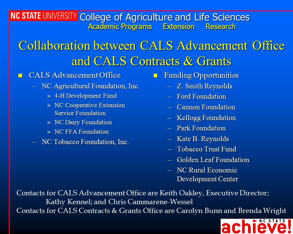 College of Agriculture and Life Sciences Academic Programs Extension Research Collaboration between CALS Advancement Office and CALS Contracts & Grants n CALS Advancement Office –NC Agricultural Foundation, Inc.