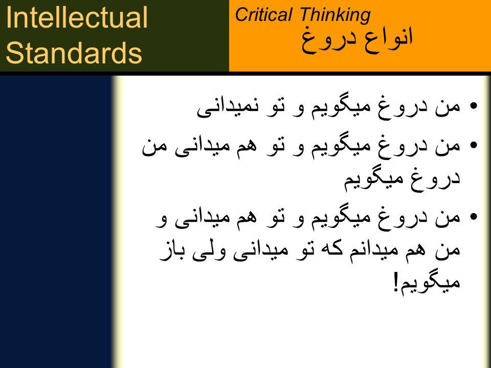 Critical Thinking Intellectual Standards صحت چطور می توانم آن را بررسی کنم؟ چطور می توانم از صحت آن مطمئن شوم؟ چطور می توانم در موردش تحقیق کرده یا آن را امتحان کنم؟ بدبینی متعادلی متفکر انتقادی بدبینی متعادلی درباره توصیفات عمومی ـ درباره چیستی و صحت موضوع ـ دارد.