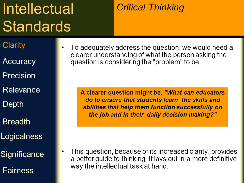 Critical Thinking Intellectual Standards Clarity is a gateway standard.