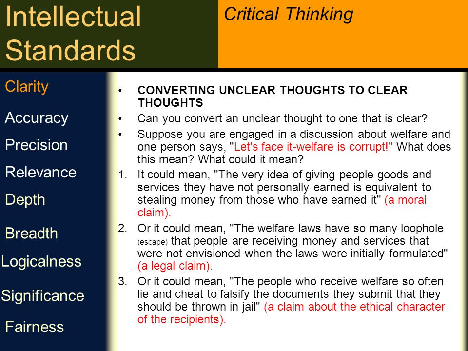 Critical Thinking Intellectual Standards Clearness Is the thinking clear.