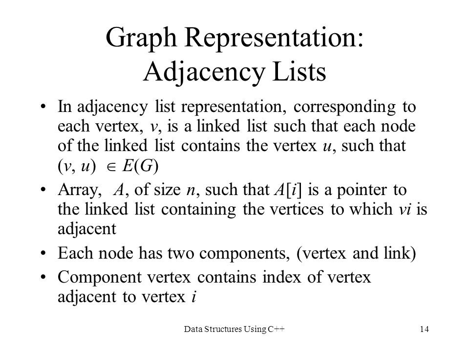 Data Structures Using C++14 Graph Representation: Adjacency Lists In adjacency list representation, corresponding to each vertex, v, is a linked list