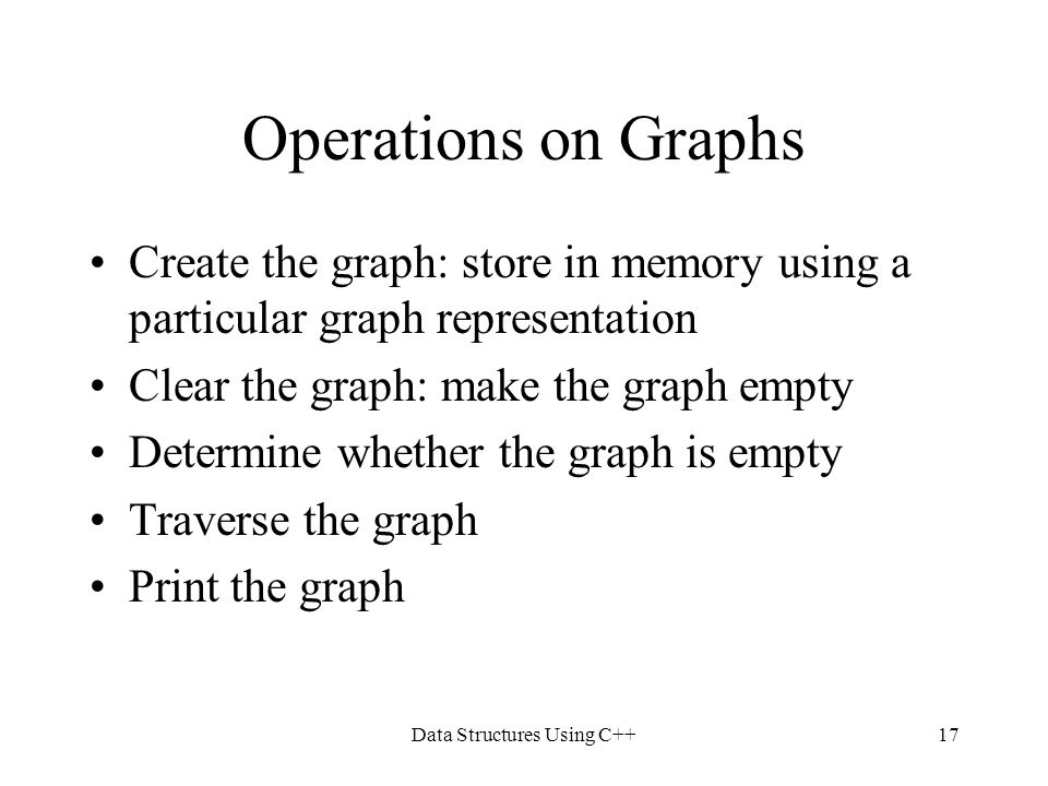 Data Structures Using C++17 Operations on Graphs Create the graph: store in memory using a particular graph representation Clear the graph: make the g
