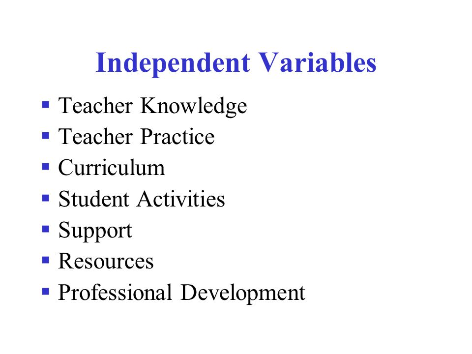 Independent Variables  Teacher Knowledge  Teacher Practice  Curriculum  Student Activities  Support  Resources  Professional Development