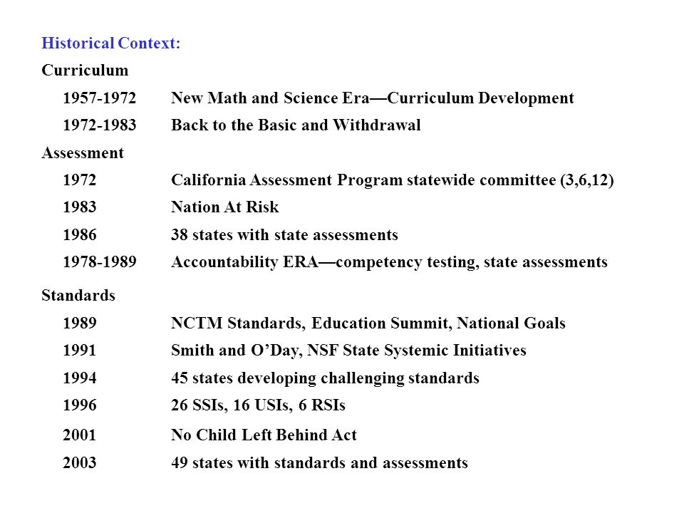 Historical Context: Curriculum 1957-1972New Math and Science Era—Curriculum Development 1972-1983Back to the Basic and Withdrawal Assessment 1972California Assessment Program statewide committee (3,6,12) 1983Nation At Risk 198638 states with state assessments 1978-1989Accountability ERA—competency testing, state assessments Standards 1989NCTM Standards, Education Summit, National Goals 1991Smith and O'Day, NSF State Systemic Initiatives 199445 states developing challenging standards 199626 SSIs, 16 USIs, 6 RSIs 2001No Child Left Behind Act 200349 states with standards and assessments