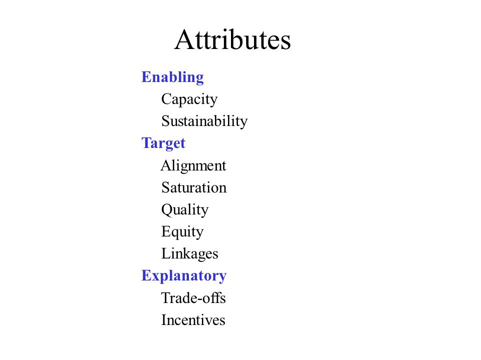 Attributes Enabling Capacity Sustainability Target Alignment Saturation Quality Equity Linkages Explanatory Trade-offs Incentives