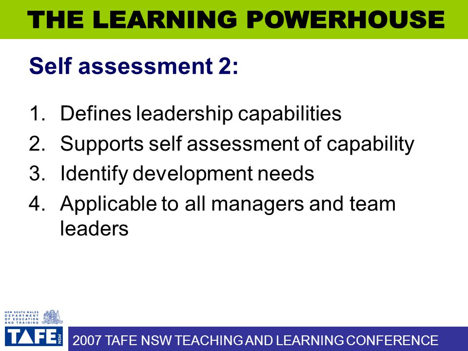 2007 TAFE NSW TEACHING AND LEARNING CONFERENCE Self assessment 2: 1.Defines leadership capabilities 2.Supports self assessment of capability 3.Identif