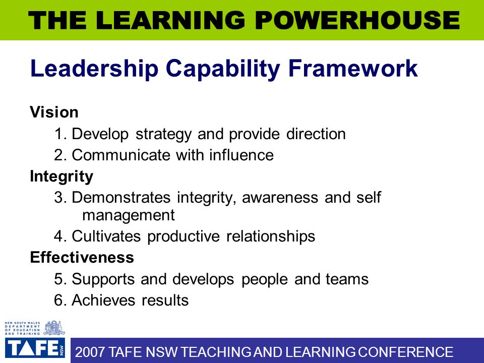 2007 TAFE NSW TEACHING AND LEARNING CONFERENCE Leadership Capability Framework Vision 1.