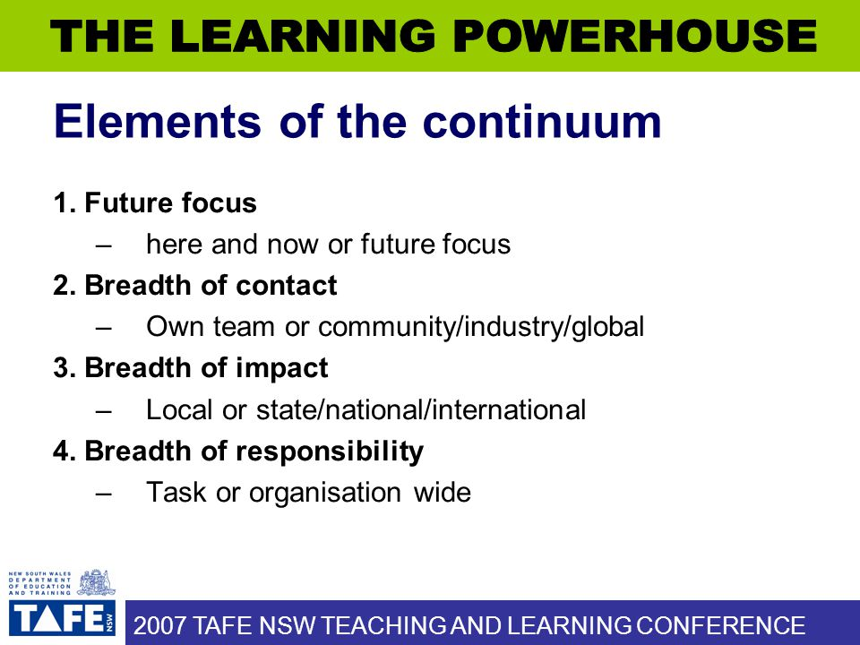 2007 TAFE NSW TEACHING AND LEARNING CONFERENCE Elements of the continuum 1. Future focus –here and now or future focus 2. Breadth of contact –Own team