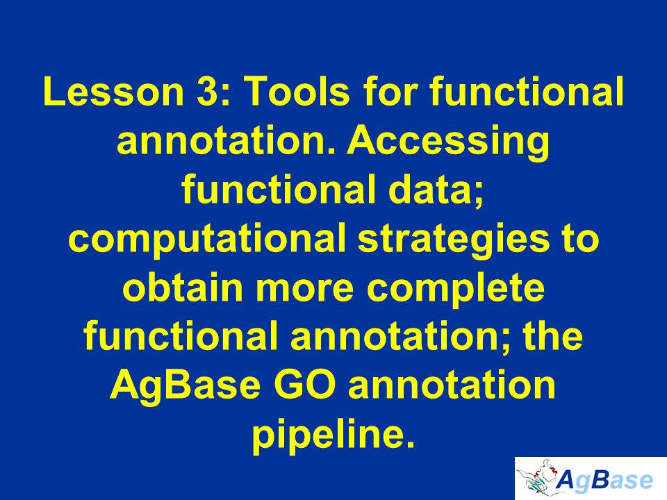 Lesson 3 Outline 1.Review: Functional Annotation 2.Tools for functional annotation –Accessing functional data –Computational strategies to obtain more functional data 3.Example: The AgBase GO annotation pipeline 4.Other GO annotation tools