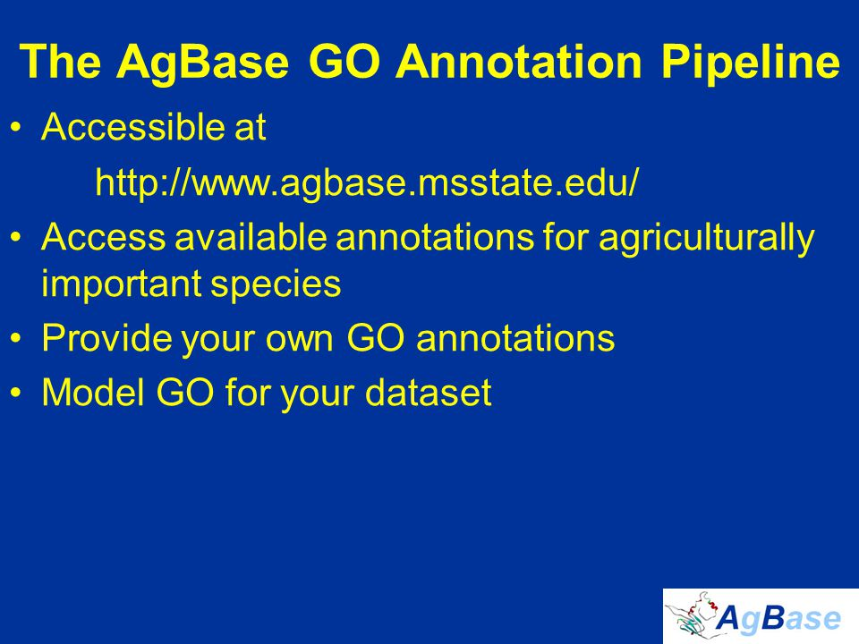 The AgBase GO Annotation Pipeline Accessible at http://www.agbase.msstate.edu/ Access available annotations for agriculturally important species Provide your own GO annotations Model GO for your dataset