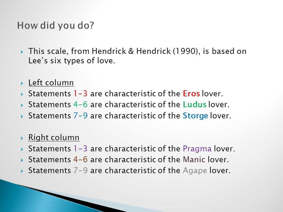  This scale, from Hendrick & Hendrick (1990), is based on Lee's six types of love.