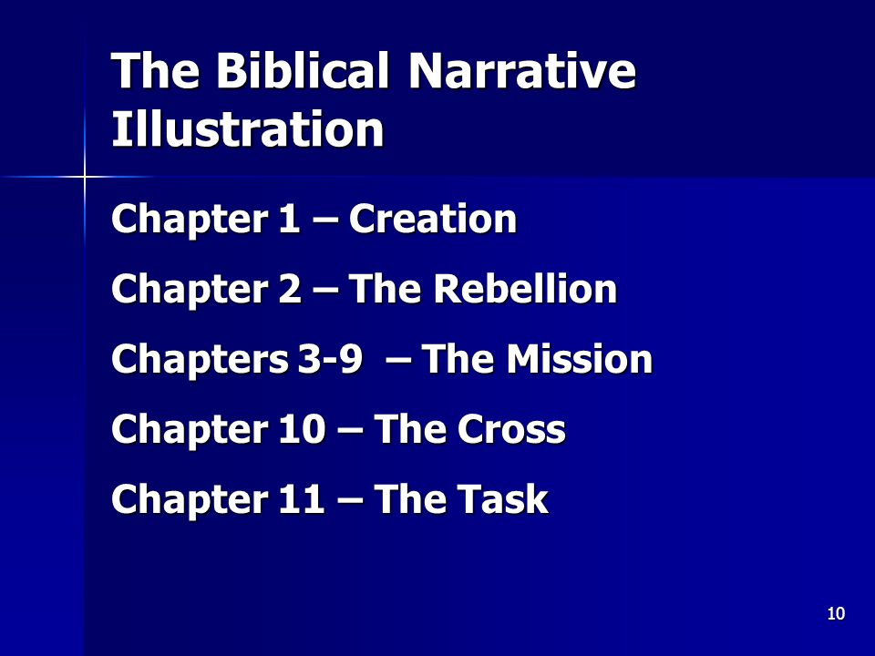 10 The Biblical Narrative Illustration Chapter 1 – Creation Chapter 2 – The Rebellion Chapters 3-9 – The Mission Chapter 10 – The Cross Chapter 11 – The Task