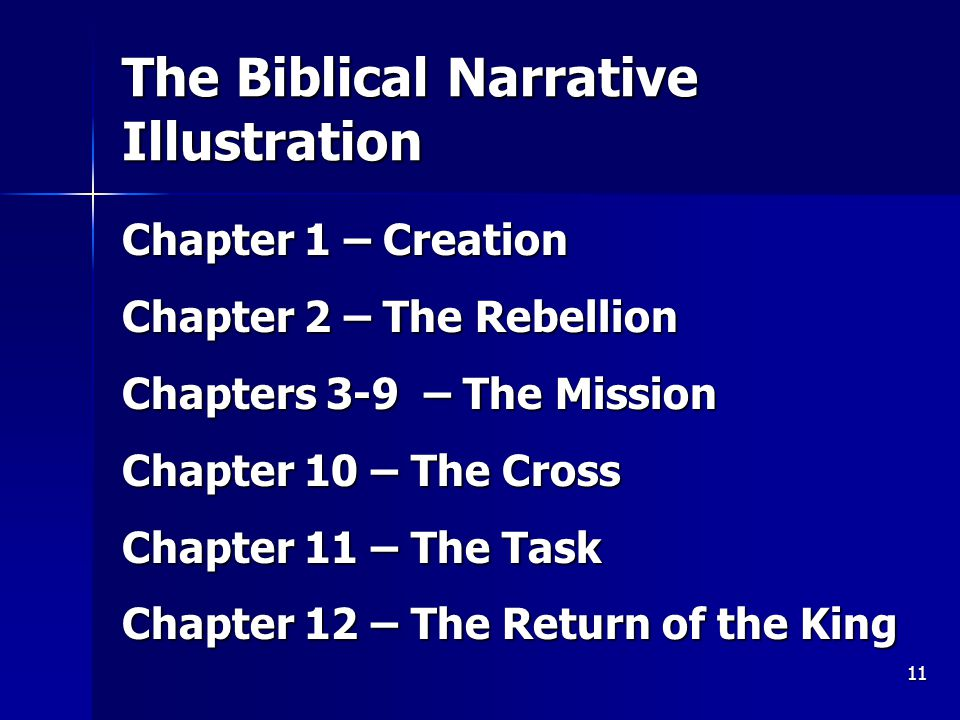 11 The Biblical Narrative Illustration Chapter 1 – Creation Chapter 2 – The Rebellion Chapters 3-9 – The Mission Chapter 10 – The Cross Chapter 11 – The Task Chapter 12 – The Return of the King