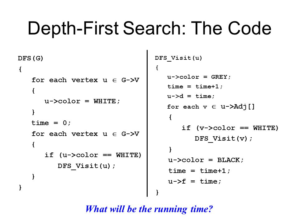 Depth-First Search: The Code DFS(G) { for each vertex u  G->V { u->color = WHITE; } time = 0; for each vertex u  G->V { if (u->color == WHITE) DFS_Visit(u); } DFS_Visit(u) { u->color = GREY; time = time+1; u->d = time; for each v  u->Adj[] { if (v->color == WHITE) DFS_Visit(v); } u->color = BLACK; time = time+1; u->f = time; } What will be the running time