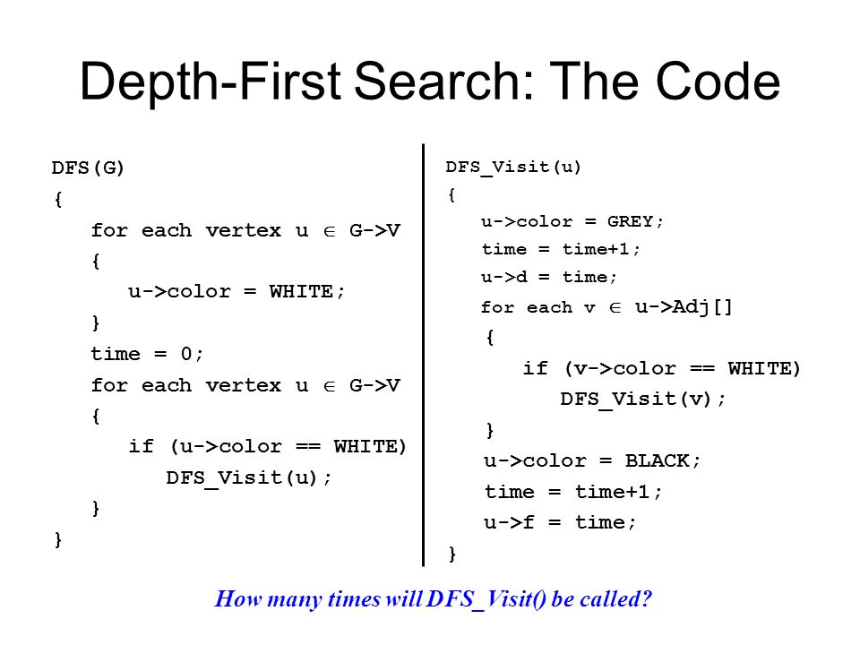 Depth-First Search: The Code DFS(G) { for each vertex u  G->V { u->color = WHITE; } time = 0; for each vertex u  G->V { if (u->color == WHITE) DFS_Visit(u); } DFS_Visit(u) { u->color = GREY; time = time+1; u->d = time; for each v  u->Adj[] { if (v->color == WHITE) DFS_Visit(v); } u->color = BLACK; time = time+1; u->f = time; } How many times will DFS_Visit() be called