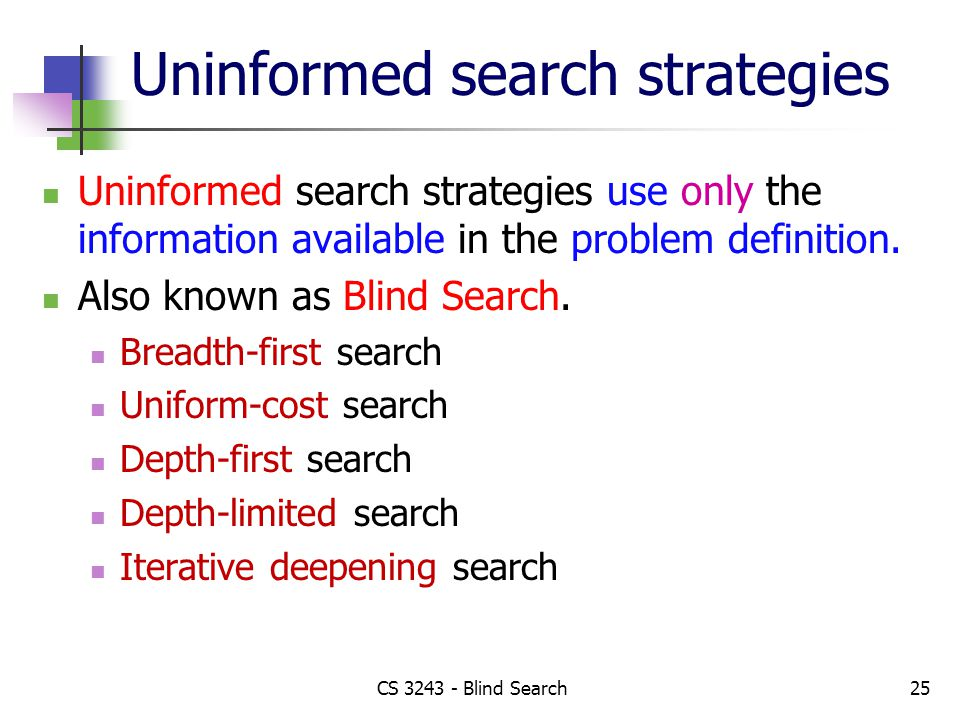 CS 3243 - Blind Search25 Uninformed search strategies Uninformed search strategies use only the information available in the problem definition.