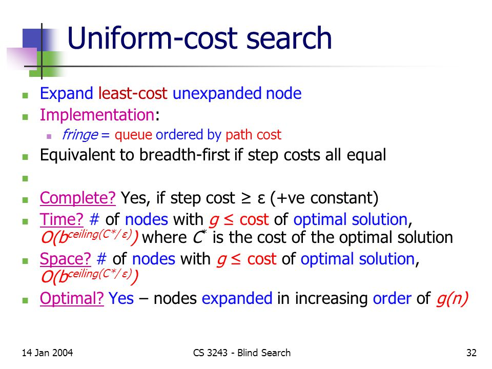 14 Jan 2004CS 3243 - Blind Search32 Uniform-cost search Expand least-cost unexpanded node Implementation: fringe = queue ordered by path cost Equivalent to breadth-first if step costs all equal Complete.