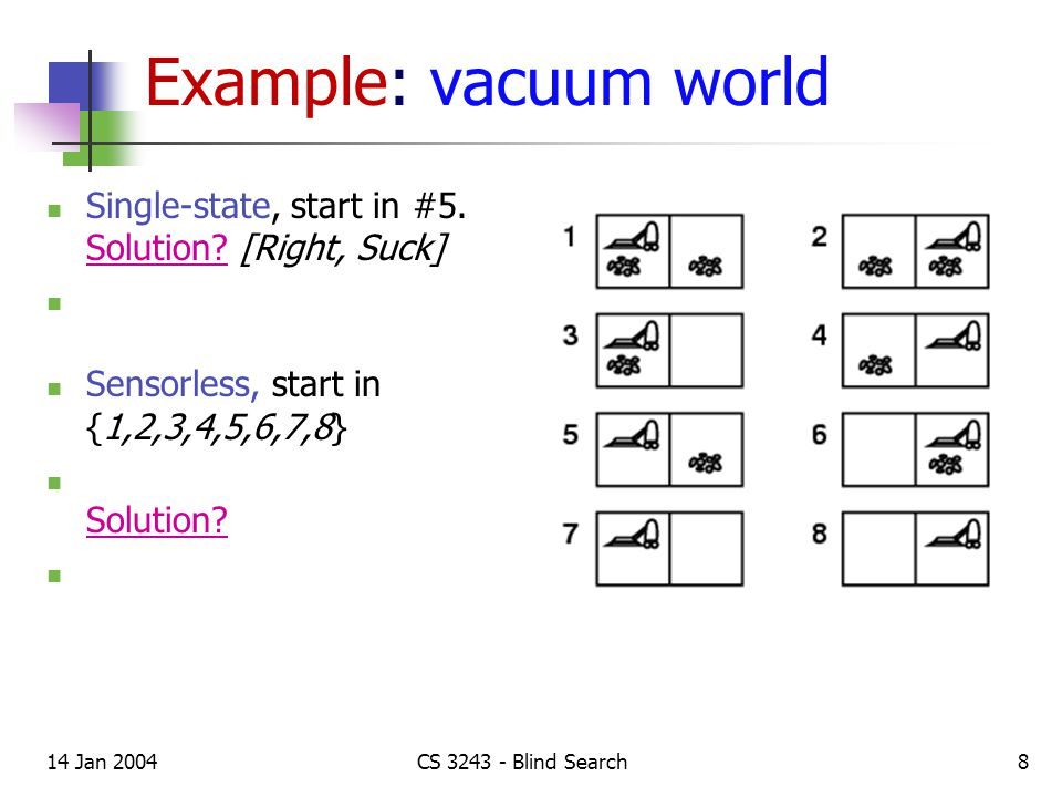 14 Jan 2004CS 3243 - Blind Search8 Example: vacuum world Single-state, start in #5.