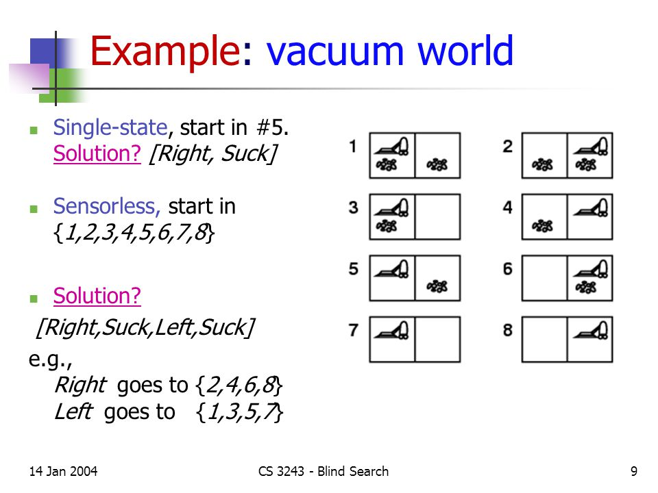14 Jan 2004CS 3243 - Blind Search9 Example: vacuum world Single-state, start in #5.