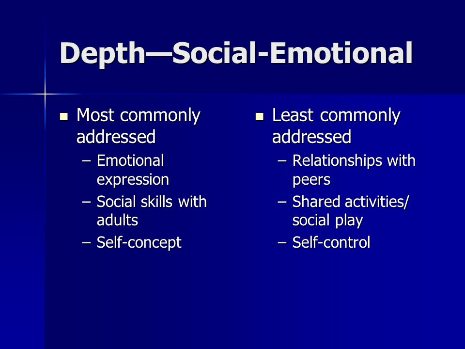 Depth—Social-Emotional Most commonly addressed Most commonly addressed –Emotional expression –Social skills with adults –Self-concept Least commonly addressed Least commonly addressed –Relationships with peers –Shared activities/ social play –Self-control