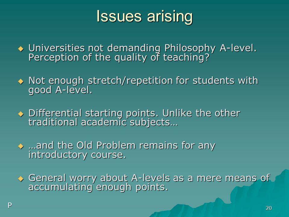 Issues arising  Universities not demanding Philosophy A-level.