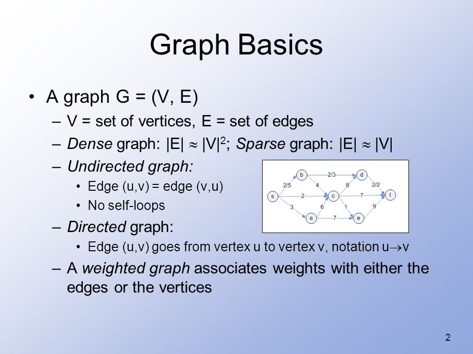 2 Graph Basics A graph G = (V, E) –V = set of vertices, E = set of edges –Dense graph: |E|  |V| 2 ; Sparse graph: |E|  |V| –Undirected graph: Edge (u,v) = edge (v,u) No self-loops –Directed graph: Edge (u,v) goes from vertex u to vertex v, notation u  v –A weighted graph associates weights with either the edges or the vertices