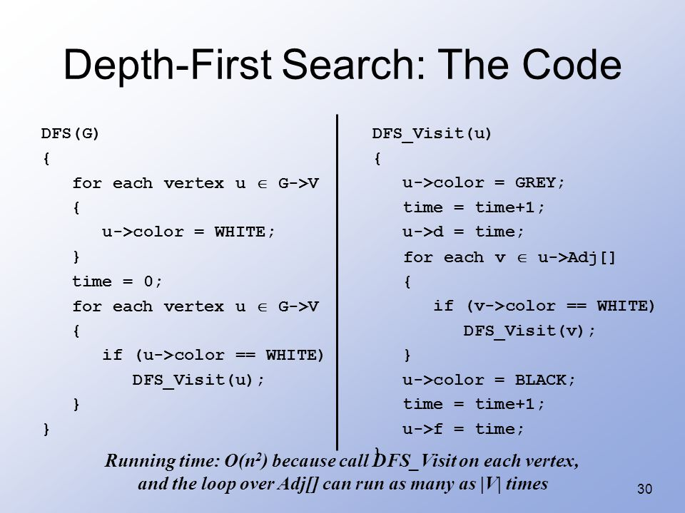 30 Depth-First Search: The Code DFS(G) { for each vertex u  G->V { u->color = WHITE; } time = 0; for each vertex u  G->V { if (u->color == WHITE) DF