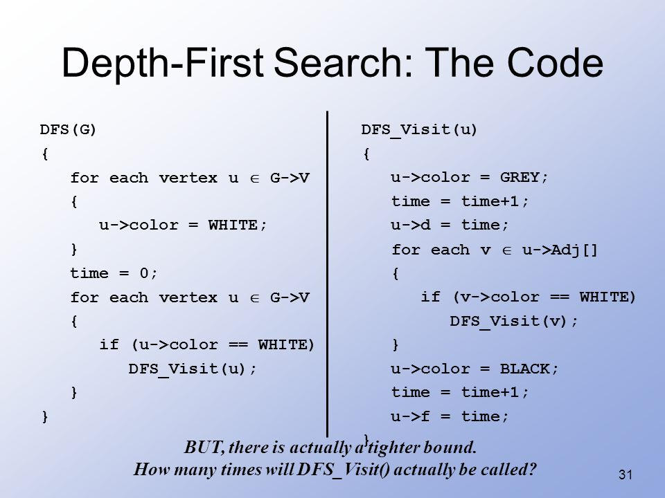 31 Depth-First Search: The Code DFS(G) { for each vertex u  G->V { u->color = WHITE; } time = 0; for each vertex u  G->V { if (u->color == WHITE) DFS_Visit(u); } DFS_Visit(u) { u->color = GREY; time = time+1; u->d = time; for each v  u->Adj[] { if (v->color == WHITE) DFS_Visit(v); } u->color = BLACK; time = time+1; u->f = time; } BUT, there is actually a tighter bound.