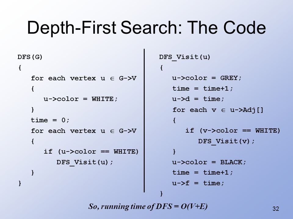 32 Depth-First Search: The Code DFS(G) { for each vertex u  G->V { u->color = WHITE; } time = 0; for each vertex u  G->V { if (u->color == WHITE) DF