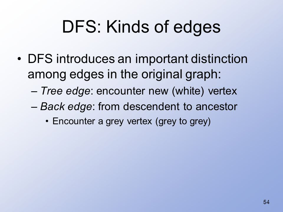 54 DFS: Kinds of edges DFS introduces an important distinction among edges in the original graph: –Tree edge: encounter new (white) vertex –Back edge: