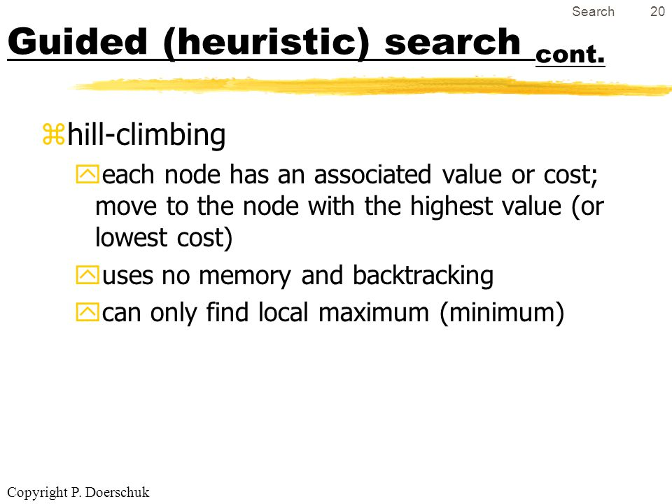 Copyright P.Doerschuk Search20 Guided (heuristic) search cont.