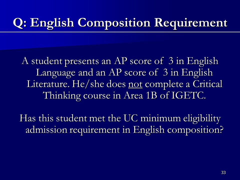 33 A student presents an AP score of 3 in English Language and an AP score of 3 in English Literature.