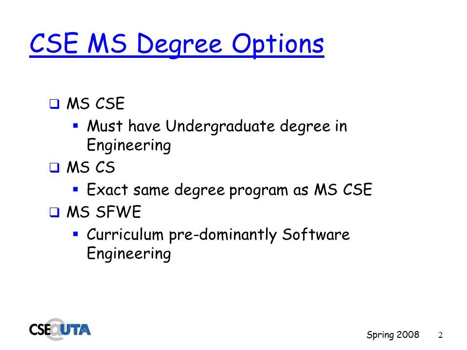 Spring 20081 CSE Master's Programs Spring 2008 Mike O'Dell CSE Graduate Advisor