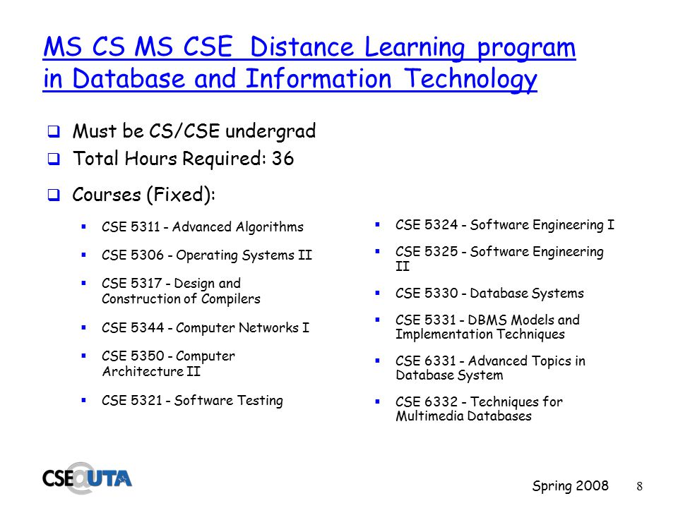 Spring 20087 MS Software Engineering  Orientation Seminar (5194)  5 Core courses: CSE 5311, 5324, 5325, (5328 and 5329)  2 Courses from: CSE 5326, 5392, 6324, 6392  5 Electives, including three from CSE  Total Hours Required: 37