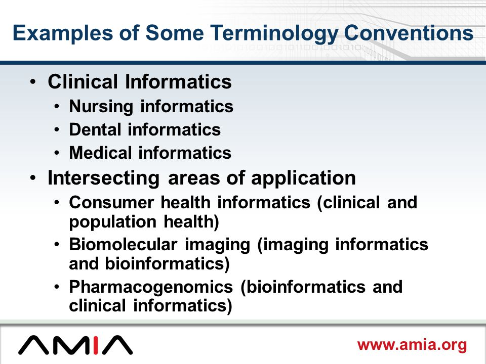 www.amia.org Examples of Some Terminology Conventions Clinical Informatics Nursing informatics Dental informatics Medical informatics Intersecting areas of application Consumer health informatics (clinical and population health) Biomolecular imaging (imaging informatics and bioinformatics) Pharmacogenomics (bioinformatics and clinical informatics)