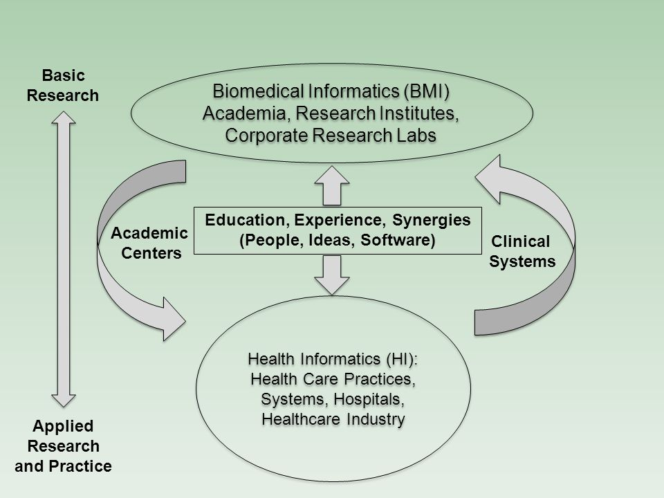 Academic Centers Clinical Systems Basic Research Applied Research and Practice Biomedical Informatics (BMI) Academia, Research Institutes, Corporate Research Labs Health Informatics (HI): Health Care Practices, Systems, Hospitals, Healthcare Industry Education, Experience, Synergies (People, Ideas, Software)