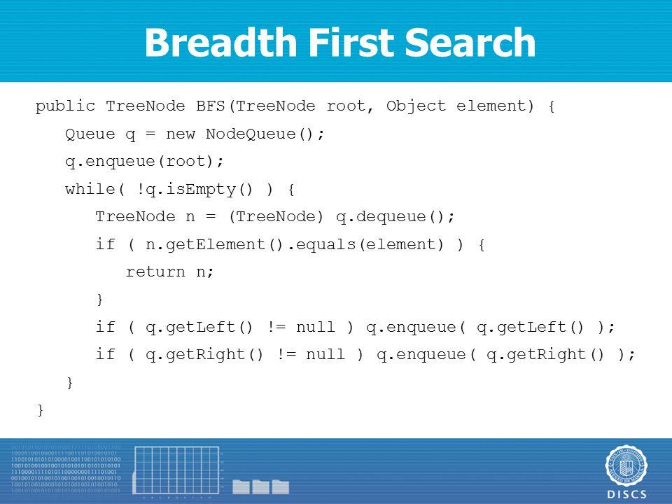 Breadth First Search public TreeNode BFS(TreeNode root, Object element) { Queue q = new NodeQueue(); q.enqueue(root); while( !q.isEmpty() ) { TreeNode n = (TreeNode) q.dequeue(); if ( n.getElement().equals(element) ) { return n; } if ( q.getLeft() != null ) q.enqueue( q.getLeft() ); if ( q.getRight() != null ) q.enqueue( q.getRight() ); }