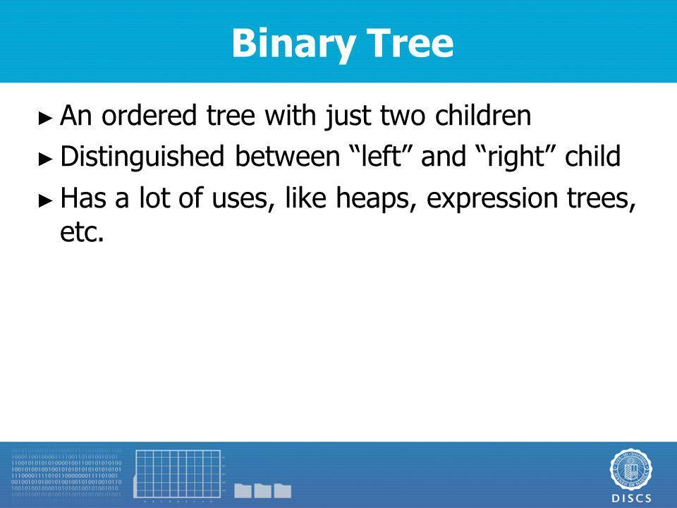 Binary Tree Properties ► Let ► n – number of nodes ► e – external nodes ► i – internal nodes ► h – height ► Properties ► e = i + 1 ► n = 2e – 1 ► h ≤ i ► h ≤ (n-1) / 2 ► e ≤ 2 n ► h ≥ log 2 e ► h ≥ log 2 (n+1) - 1