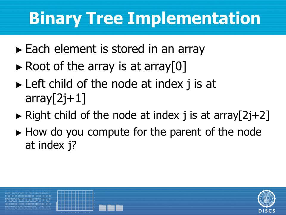 Binary Tree Array Example A BC D E H GF ABCDEFGH 0123456789101112131415