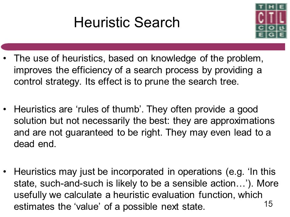 15 Heuristic Search The use of heuristics, based on knowledge of the problem, improves the efficiency of a search process by providing a control strat