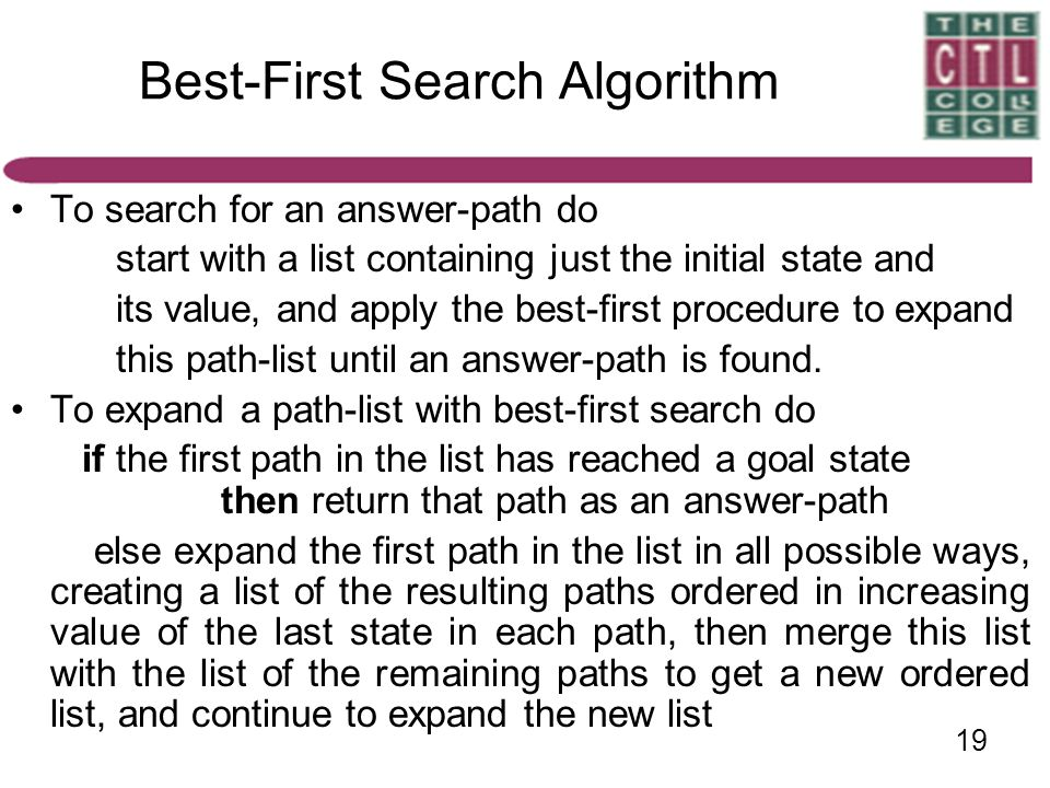 19 Best-First Search Algorithm To search for an answer-path do start with a list containing just the initial state and its value, and apply the best-f