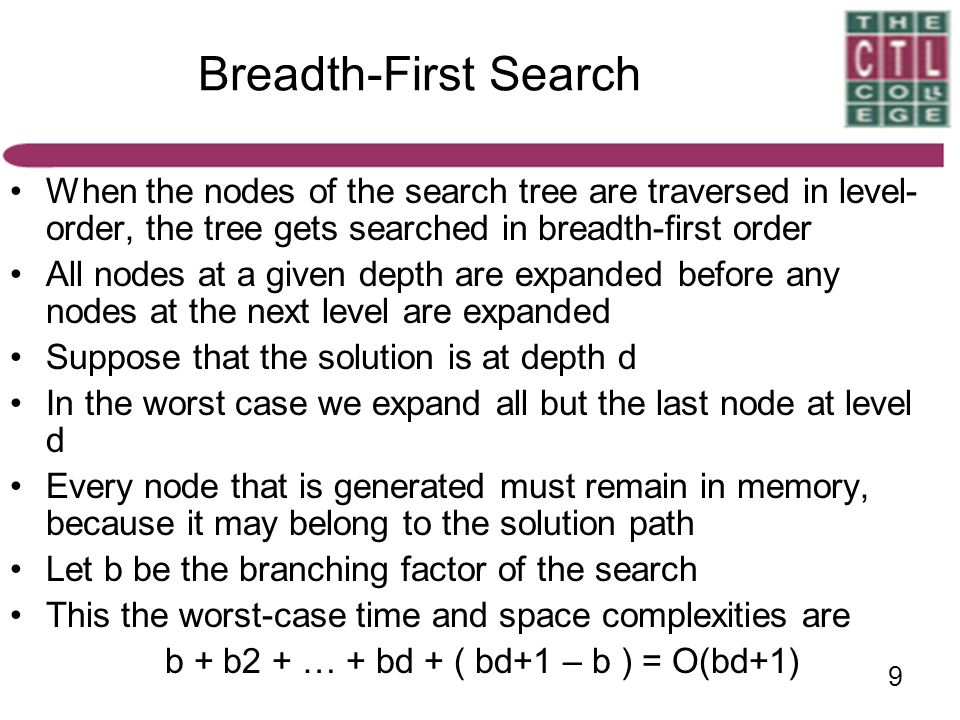 9 Breadth-First Search When the nodes of the search tree are traversed in level- order, the tree gets searched in breadth-first order All nodes at a g