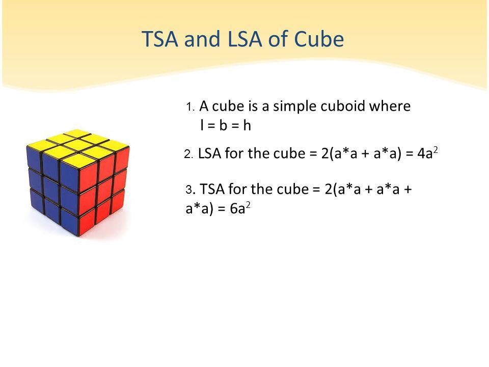 1.A cube is a simple cuboid where l = b = h 2. LSA for the cube = 2(a*a + a*a) = 4a 2 3.