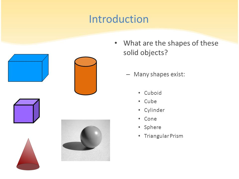 Introduction What are the shapes of these solid objects? – Many shapes exist: Cuboid Cube Cylinder Cone Sphere Triangular Prism